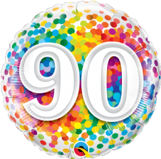 90th Birthday Confetti Design Foil Balloon